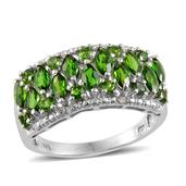 Russian Diopside, Diamond Platinum Over Sterling Silver Ring (Size 7.0) TDiaWt 0.05 cts, TGW 2.680 cts.