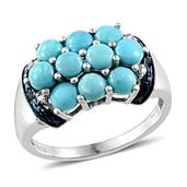 Arizona Sleeping Beauty Turquoise, Diamond Platinum Over Sterling Silver Ring (Size 8.0) TGW 2.77 cts.