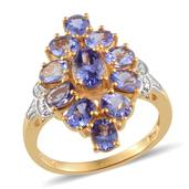 Tanzanite, Diamond 14K YG and Platinum Over Sterling Silver Ring (Size 8.0) TDiaWt 0.01 cts, TGW 4.250 cts.