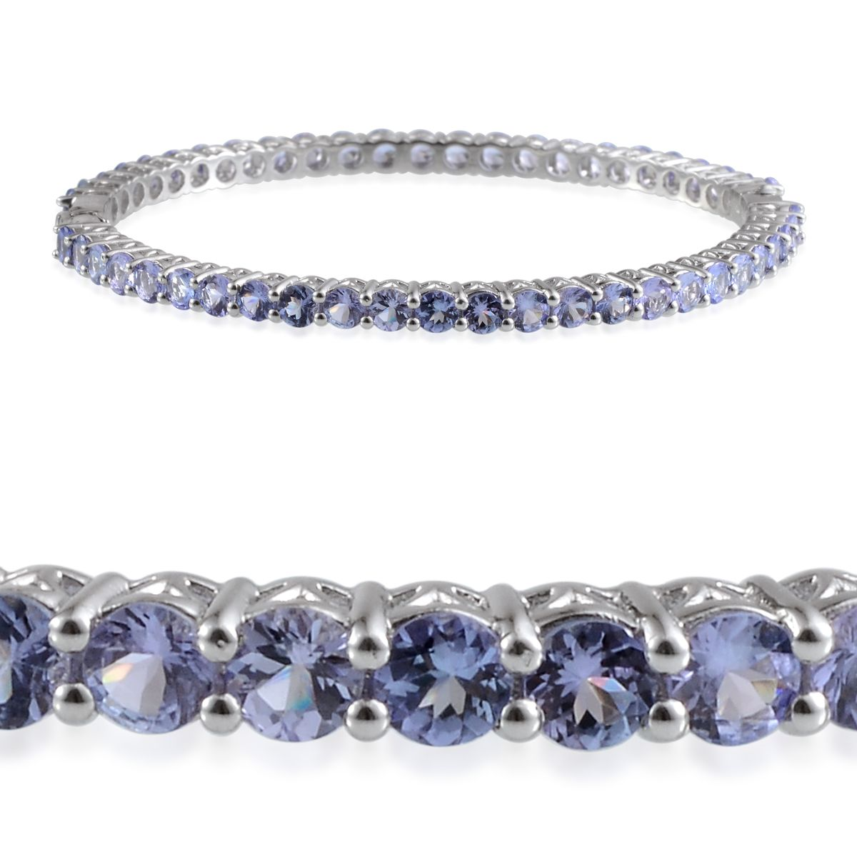Tanzanite Platinum Over Sterling Silver Bangle TGW 15.200 cts.