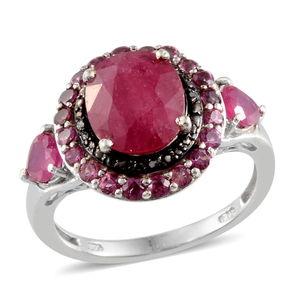 Niassa Ruby, Orissa Rhodolite Garnet, Black Diamond Platinum Over Sterling Silver Ring (Size 10.0) TDiaWt 0.03 cts, TGW 6.130 cts.