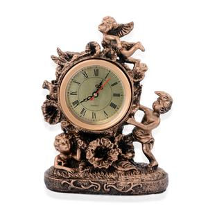 Black and Gold Cherub Statue Clock Clock