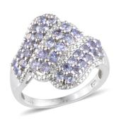 Tanzanite, Diamond Platinum Over Sterling Silver Ring (Size 8.0) , TGW 1.61 cts.