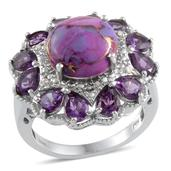 Mojave Purple Turquoise, Amethyst, Diamond Platinum Over Sterling Silver Ring (Size 8) TDiaWt 0.02 cts, TGW 8.350 cts.