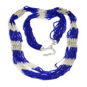 Blue and White Peot Beads Necklace in Silvertone