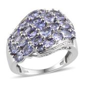 Tanzanite (Ovl), Diamond Ring in Platinum Overlay Sterling Silver Nickel Free (Size 7.0) , TGW 4.66 cts.