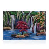 Waterfalls Rose Quartz, Burmese Green Jade, Citrine and Multi Gemstone Artwork (12x8 in)