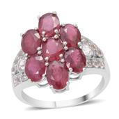 Niassa Ruby, White Topaz Sterling Silver Ring (Size 10.0) TGW 8.830 cts.