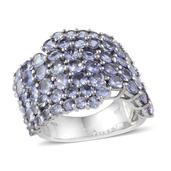 Tanzanite Platinum Over Sterling Silver Ring (Size 7.0) TGW 8.300 cts.