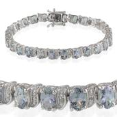 Bondi Blue Tanzanite, Diamond Platinum Over Sterling Silver Bracelet (7.50 In) TDiaWt 0.01 cts, TGW 14.300 cts.