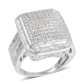 Diamond Platinum Over Sterling Silver Ring (Size 8.0) TDiaWt 0.50 cts, TGW 0.50 cts.