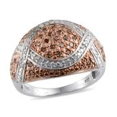 Champagne Diamond, Diamond Platinum Over Sterling Silver Ring (Size 10.0) TDiaWt 0.50 cts, TGW 0.50 cts.