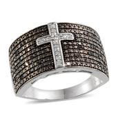Black Diamond, Diamond Platinum Over Sterling Silver Men's Ring (Size 12.0) TDiaWt 0.33 cts, TGW 0.330 cts.