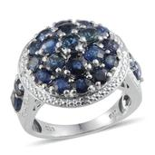 Kanchanaburi Blue Sapphire, Diamond Platinum Over Sterling Silver Ring (Size 7.0) TDiaWt 0.02 cts, TGW 5.320 cts.