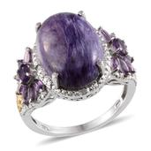 Siberian Charoite, Amethyst, Diamond Platinum and 14K YG Over Sterling Silver Ring (Size 11) TDiaWt 0.04 cts, TGW 13.070 cts.