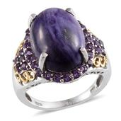 Siberian Charoite, Amethyst 14K YG and Platinum Over Sterling Silver Ring (Size 7) TGW 11.650 cts.