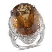 14K WG Santa Ana Madeira Citrine (Ovl 36.15 Ct), Diamond Ring (Size 7) TDiaWt 0.710Cts., TGW 36.86 Cts.  (Returnable)