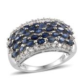 Kanchanaburi Blue Sapphire, White Topaz Platinum Over Sterling Silver Ring (Size 8.0) TGW 3.950 cts.
