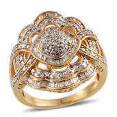 Diamond 14K YG Over Sterling Silver Ring (Size 7.0) TDiaWt 0.50 cts, TGW 0.500 cts.