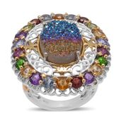 Rainbow Drusy Quartz, Multi Gemstone 14K YG and Platinum Over Sterling Silver Ring (Size 7.0) TGW 10.450 cts.