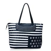 J Francis - Black and White Striped Faux Leather Tote Bag (18x4x12 in)