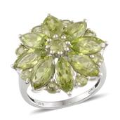 Hebei Peridot Platinum Over Sterling Silver Ring (Size 7.0) TGW 9.750 cts.