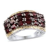Pyrope Garnet 14K YG and Platinum Over Sterling Silver Ring (Size 7.0) TGW 5.900 cts.