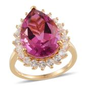 Radiant Orchid Quartz, White Topaz 14K YG Over Sterling Silver Ring (Size 9.0) TGW 14.650 cts.