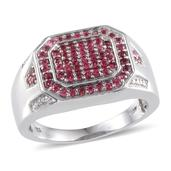 Mahenge Spinel (Rnd) Men's Ring in Platinum Overlay Sterling Silver Nickel Free (Size 14) TGW 2.00 Cts.