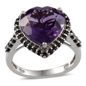 Amethyst (Hrt 7.85 Carat), Thai Black Spinel Ring in Platinum Overlay Sterling Silver Nickel Free (Size 6.0) Total Gem Stone Weight 8.84 Carat