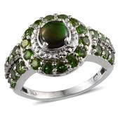 Canadian Ammolite, Russian Diopside, Black Diamond Accent, Diamond Accent Platinum Over Sterling Silver Ring (Size 9.0) TDiaWt 0.02 cts, TGW 2.700 cts.