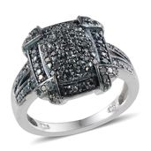 Blue Diamond (IR) Platinum Over Sterling Silver Ring (Size 7.0) TDiaWt 0.50 cts, TGW 0.50 cts.