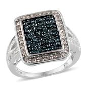 Blue Diamond (IR), Diamond Platinum Over Sterling Silver Ring (Size 7.0) TDiaWt 0.33 cts, TGW 0.330 cts.