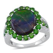 Canadian Ammolite, Russian Diopside, White Topaz Sterling Silver Ring (Size 7.0) TGW 6.130 cts.