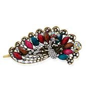 Multi Color Resin, White and Grey Austrian Crystal Peacock Hair Clip in Goldtone TGW 0.002 cts.