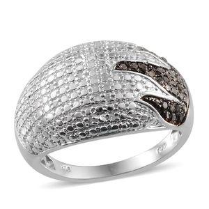Black Diamond (IR), Diamond Platinum Over Sterling Silver Dome Ring (Size 8.0) TDiaWt 0.33 cts, TGW 0.33 cts.