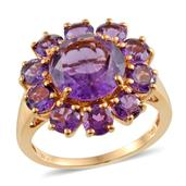 Lusaka Amethyst 14K YG Over Sterling Silver Ring (Size 8.0) TGW 7.600 cts.