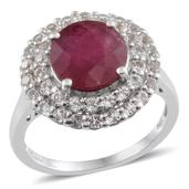 Niassa Ruby, White Topaz Platinum Over Sterling Silver Ring (Size 9.0) TGW 6.250 cts.
