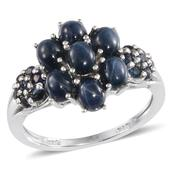 Thai Blue Star Sapphire, Kanchanaburi Blue Sapphire Platinum Over Sterling Silver Ring (Size 7.0) TGW 4.950 cts.