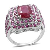 Niassa Ruby, Ruby Sterling Silver Ring (Size 9.0) TGW 6.490 cts.