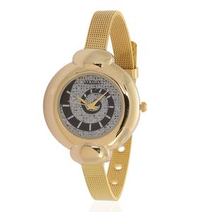 STRADA Japanese Movement Watch in Goldtone with Stainless Steel Back