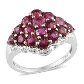 Niassa Ruby (Rnd), Diamond Ring in Platinum Overlay Sterling Silver Nickel Free (Size 8.0) , TDiaWt 0.01 cts, TGW 4.510 cts.