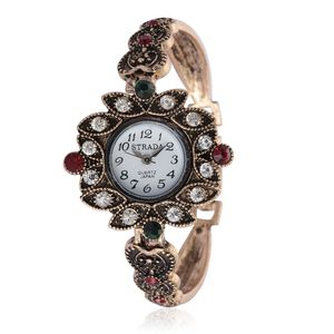 STRADA Austrian Crystal Japanese Movement Watch in Goldtone and Stainless Steel Back