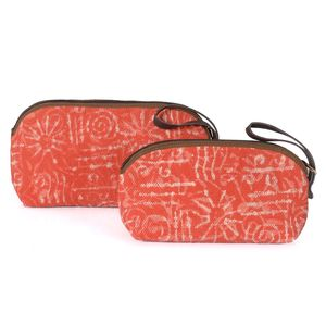 Set of 2 Red Sun Pattern Multi-Purpose Canvas Bags (12x8.5 in, 10.5x7 in)