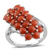 Mediterranean Coral Platinum Over Sterling Silver Ring (Size 9.0) TGW 6.400 cts.