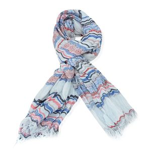 Blue, Red and White Striped 100% Cotton Scarf (72x28 in)