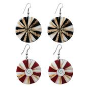 Bali Legacy Collection Laba Laba Shell, Shiva's Eye, Coral Set of 2 Earrings in Stainless Steel