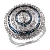 Blue Diamond (IR), Diamond Platinum Over Sterling Silver Ring (Size 8.0) TDiaWt 0.50 cts, TGW 0.500 cts.