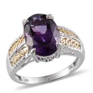 Uruguayan Amethyst, Diamond 14K YG and Platinum Over Sterling Silver Ring (Size 7.0) TDiaWt 0.01 cts, TGW 5.860 cts.