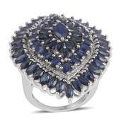 Kanchanaburi Blue Sapphire, Diamond Sterling Silver Ring (Size 7) TDiaWt 0.02 cts, TGW 13.980 cts.
